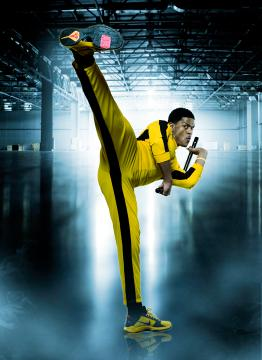 Pooch Hall as Bruce Leroy rockin the Bruce Lee Yellow Jump Suit