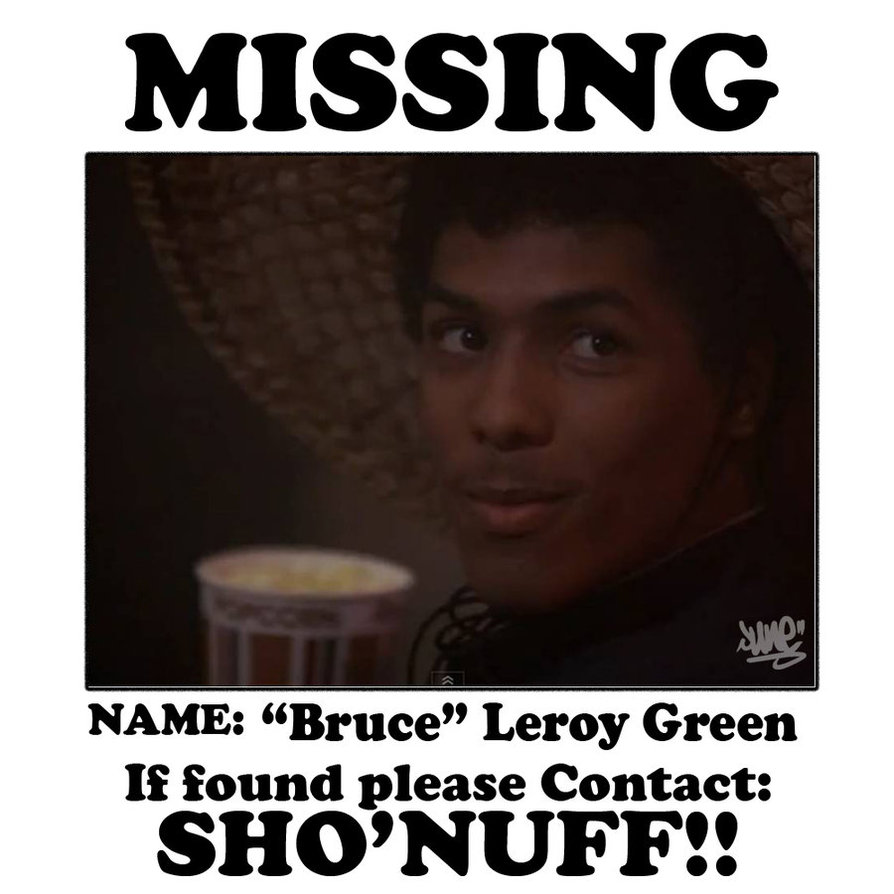 Missing Bruce Leroy if found please contact Sho'nuff