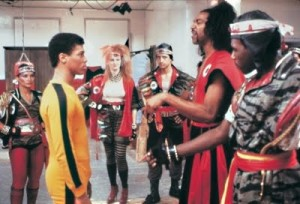 Bruce Leroy in Yellow Bruce Lee Track Suit with Sho'nuff in The Last Dragon