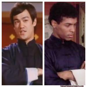 Bruce Lee and Leroy Green in Similar Dark Blue Kung Fu Outfits