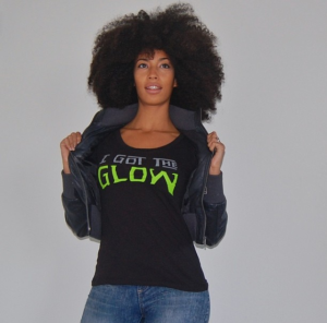 Addisa Goldman wearing I Got the Glow Last Dragon T-Shirt
