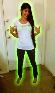 Joanna Mendez wearing white I Got The Glow T-Shirt - TheLastDragonTribute.com