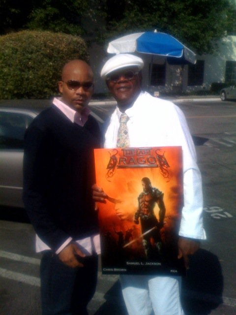 Dallas Jackson and Samuel L Jackson Holding The Last Dragon Remake Movie Poster