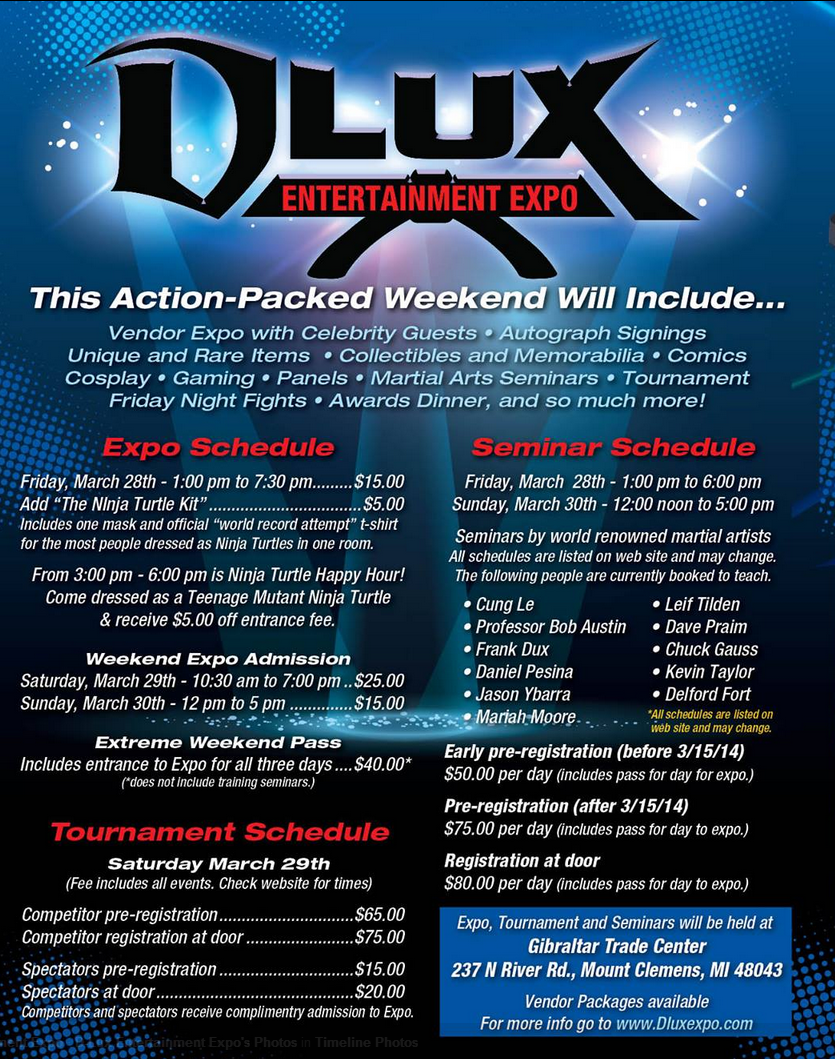 DLUX Expo Schedule of Events March 28-30 2014
