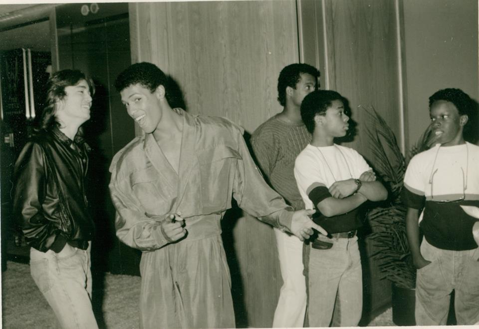 Glen Eaton, Taimak & Leo O'Brien during the making of the Last Dragon 1985