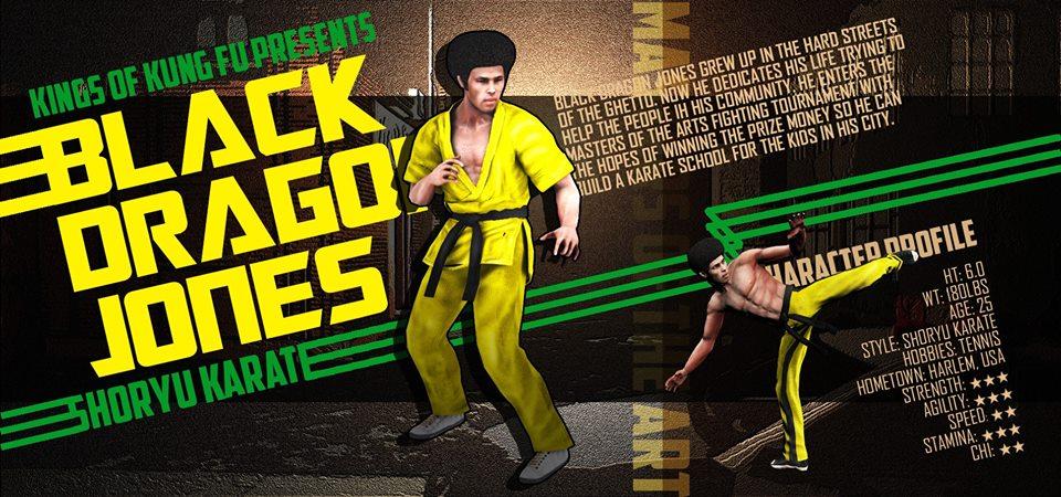 Black Dragon Jones - Kings of Kung Fu Character similar to Jim Kelly