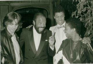 Rare Photo of Berry Gordy with Glen Eaton, Taimak & Leo O'Brien from The Last Dragon