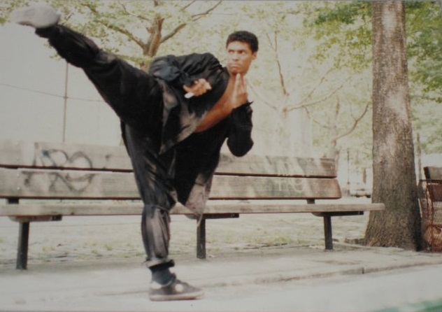 Taimak behind the scenes of The Last Dragon (photo courtesy of Hector Martinez)