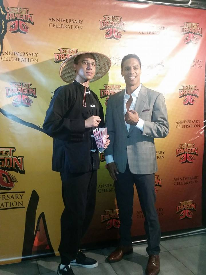Fan dressed as Bruce Leroy with Taimak-Newark-TLD-30th-March-21-2015