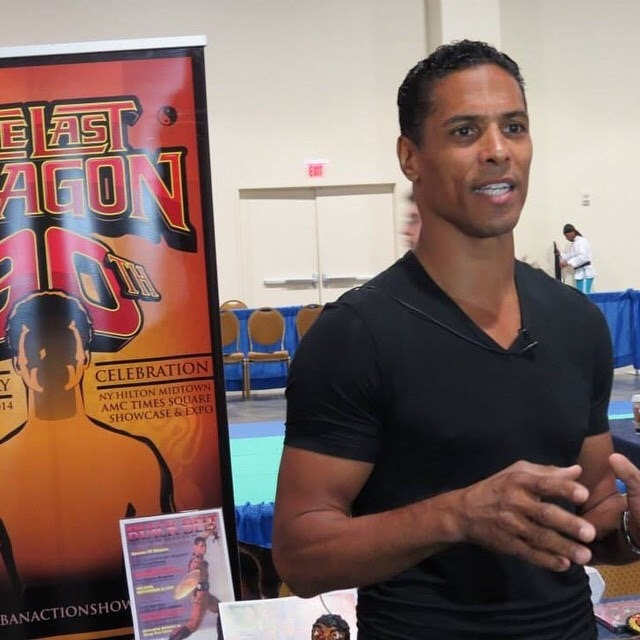 Taimak 2014 at a ComicCon in NYC promoting The Last Dragon 30th Anniversary Tour