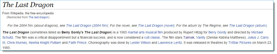 The Last Dragon on Wikipedia