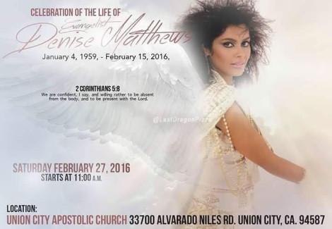 Denise Matthews Memorial Service Info