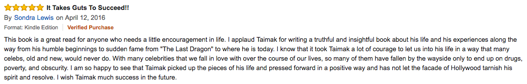 Sondra Lewis Amazon review of Taimak's Autobiography: The Last Dragon